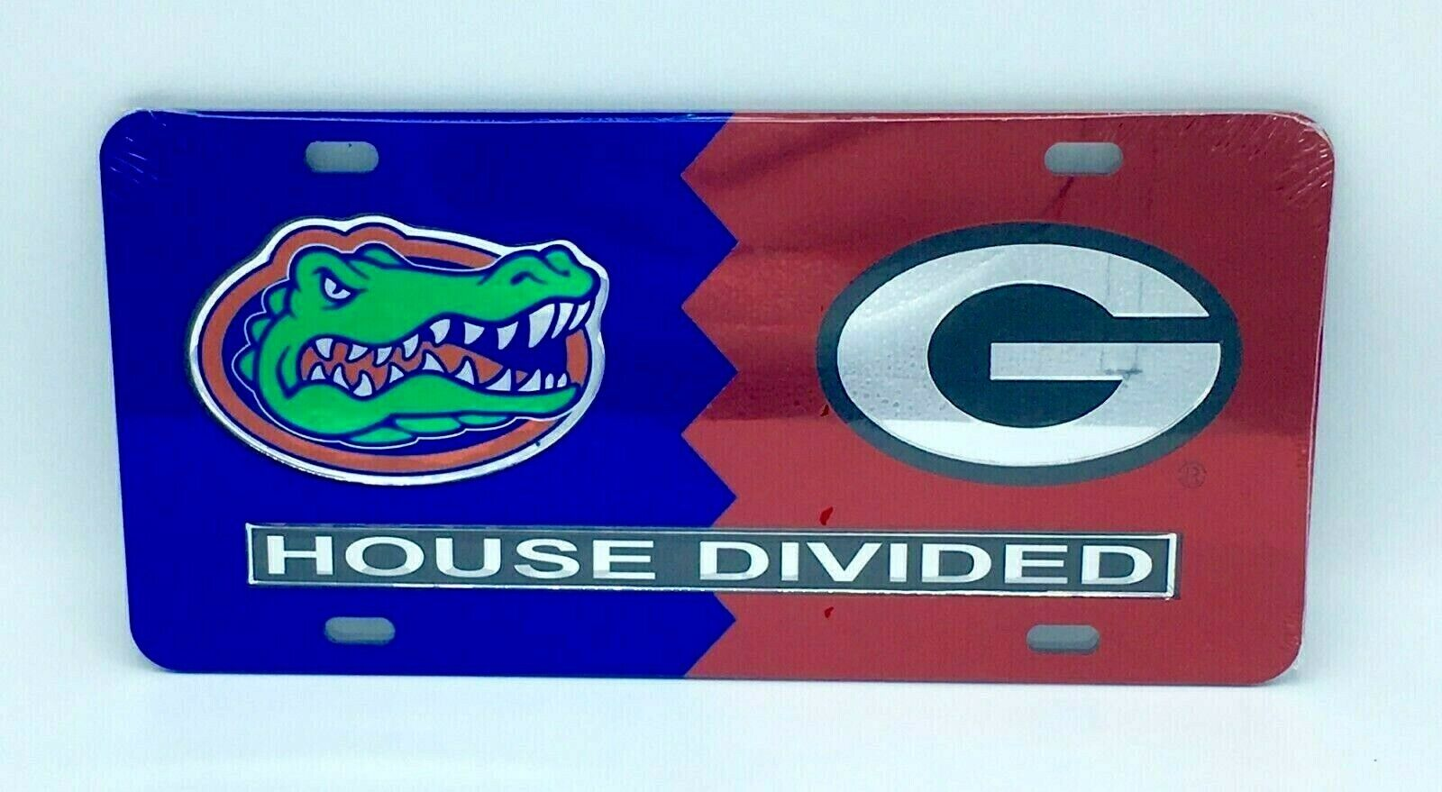House Divided Mirrored Car Tag License Plate Alabama Crimson Tide Ole Miss Rebels