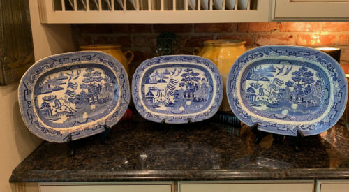 SET of 3 Antique English Blue Willow Staffordshire Platter Transferware 16 inch