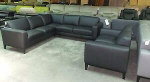 CORNER MODULAR + 2 SEATER IN 100% LEATHER BLACK Thebarton West Torrens Area Preview