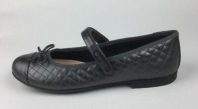 Geox Respira J Plie'D Womens Gray Leather Mary Janes Flats Sz US 8 EU 39 - Geox Leather Mary Janes