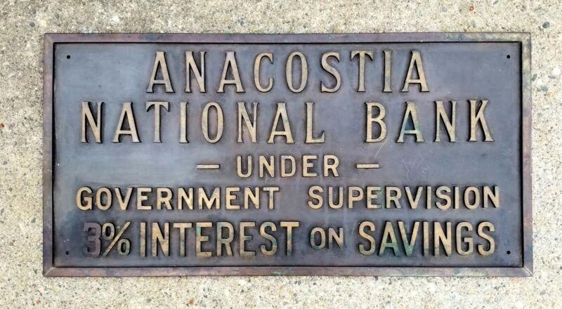 Antique Washington D.C Anacostia Brass Banking Building Plaque c1915