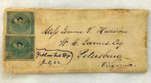 CW Confederate Envelope To Miss Jennie V Harrison, Petersburg Va 2 J DavisStamps