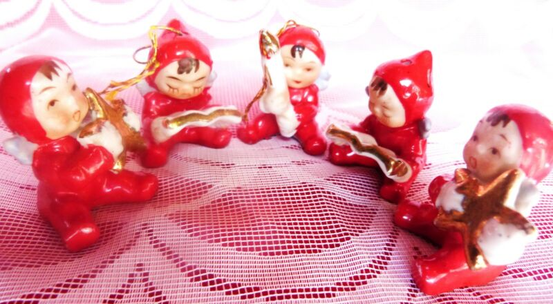 ANTIQUE CHRISTMAS ANGELS PIXIE 5PC JAPAN NAPCO INTEREST VINTAGE CHRISTMAS