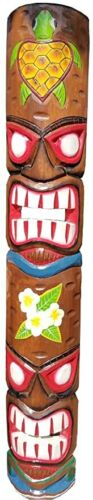 """39.5"""" Handcarved Wood Two Face Tiki Mask With Turtle & Flower Designs!"""