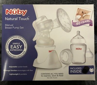 NEW Nuby Natural Touch Manual Breast Pump Anti Colic Bottles Set Pad Soother