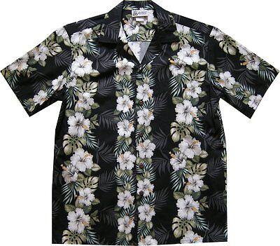 500-2742 Black Hawaiian Aloha Shirt Hibiscus Vertical Flower Hawaii Lei Leis ()