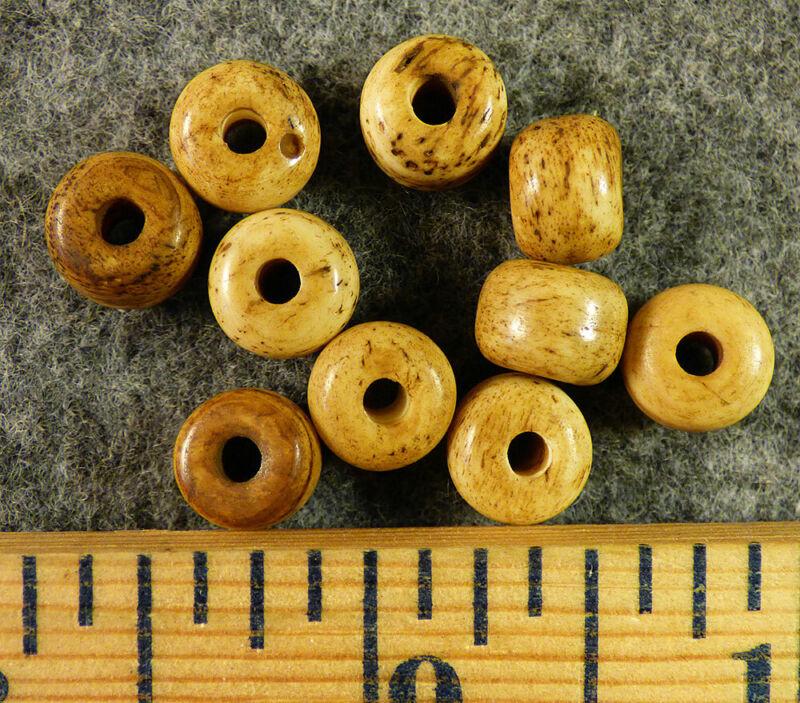(10) Crow Indian Trade Beads Rare Bone Padres Fur Trade Era Pre-1800