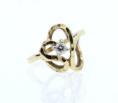 14k Yellow Gold .15ct Diamond Solitaire Free Form Heart Ladies Ring Size 7