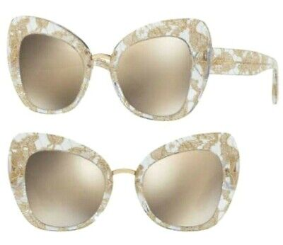 New DOLCE & GABBANA D&G Gold Lace SUNGLASSES DG/4319F 3153/5A w/Case - ITALY