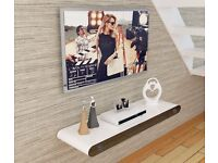 White Gloss Floating TV Stand Wall Shelf with Built-in Bluetooth Speakers Brand New in Box