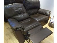 Sofa, 2 Seater, Leather, Dark Brown. Recliner with Extending Foot Rests.