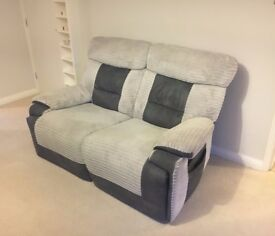 Grey 2 Seater Recliner Sofa - Excellent Condition