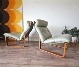 Pair of Authentic Fred Lowen Tessa T8 Leather Retro Lounge Chairs