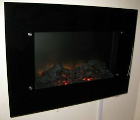LED Flame Effect Wall Mounted Electric Fire Fireplace Black Glass with Remote 2kw