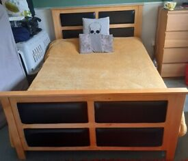 Double bed Pine frame with flux leather