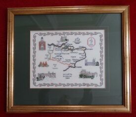 Large (49 x 57cm) Vintage Map of Kent Cross Stitch Embroidery