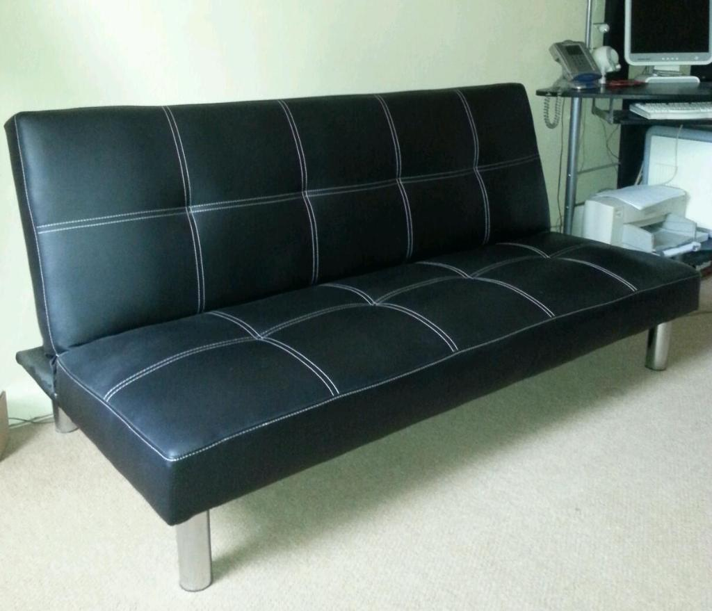 Black faux leather sofa bed in walton le dale for Black divan bed with mattress