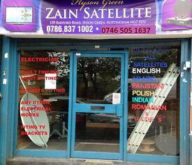 ZAIN SATELLITE, FITING SATELLITE DISH ,INSTAL RECEIVERS, ENGLISH,POLISH ,TV BRACKETS, CCTV CAMERA