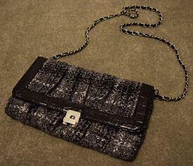 Black & White Handbag with Chain Strap