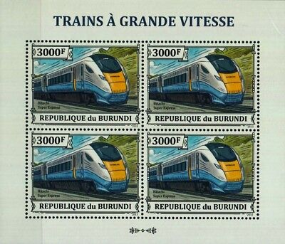 Hitachi Class 800 Super InterCity Express Train Stamp Sheet (2013 Burundi)
