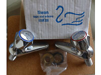 "PAIR OF SWAN CHROME 1/2"" TAPS NEW BOXED"