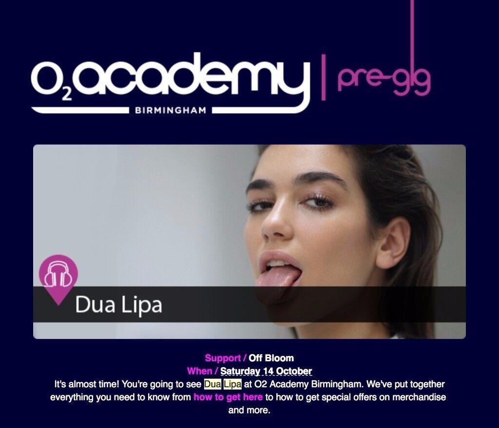 Two tickets for Dua Lipa on 02 Academy
