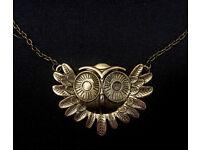 Cute Owl Necklace | Owl Pendant Motif | Gold / Bronze | Antique Effect