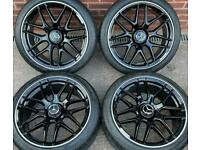 Mercedes S Class 20 inch Alloy Wheels 5 x 112 Black Staggered C63 C63s AMG Style Replica C E Class