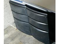 Under Desk Cabinet Metal Black (3 Drawers)(x7) - Castor Wheels. £10 per cabinet. £50 for 7 cabinets.