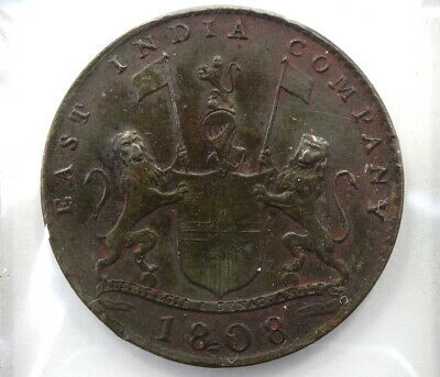 Rare Antique 1808 EAST INDIA TRADE COMPANY X 10 CASH Shipwreck Coin