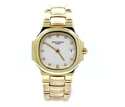 Ladies PATEK PHILIPPE NAUTILUS Diamond 4700 18K Yellow Gold 28mm Swiss Watch