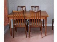 G Plan teak dining room table and six chairs