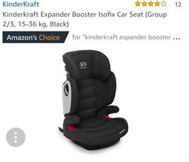 NEW Kindercraft Isofix Car Seat Group 2 3, Black