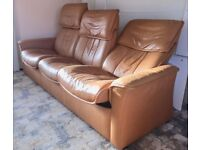 3 seater leather recliner sofa. Stressless 'Rio' by Ekornes.