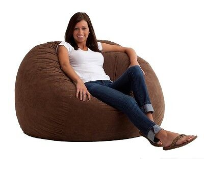 Suede Bean Bag Chair Lounge Comfort Soft Fabric Foam Brown Large Dorm Room Seat