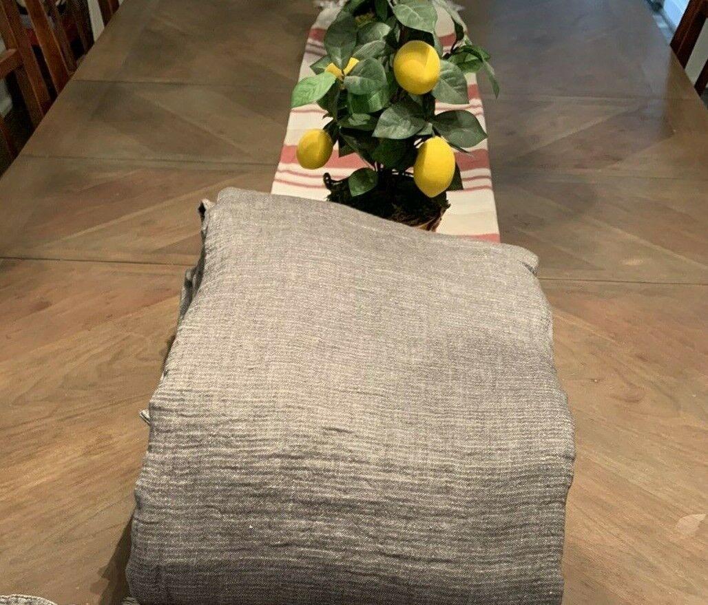 Restoration Hardware Italian Crinkled Linen Cotton King Duvet GRAPHITE 1043 - $189.00