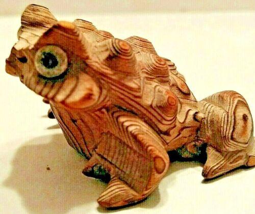 Cryptomeria Hand Carved Wood Horny Toad Vintage Japan Vintage Figurine frog GUC
