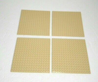 "Lego Base Plate Tan 16 x 16 Dot 91405 Square Base Plates 5"" x 5"" Lot Of 4"