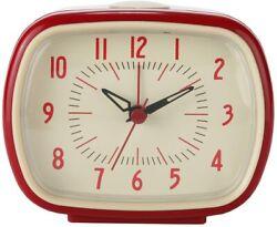 Lily's Home Quiet Non-Ticking Silent Quartz Vintage/Retro Analog Alarm Clock - R