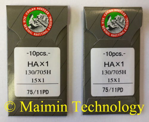 20 75/11 SHARP ORGAN TITANIUM FLAT SHANK 15X1 HAX1 HOME SEWING MACHINE NEEDLES