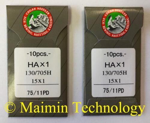 20 ORGAN TITANIUM HOME EMBROIDERY MACHINE NEEDLES 75/11 SHARP 15X1 PD