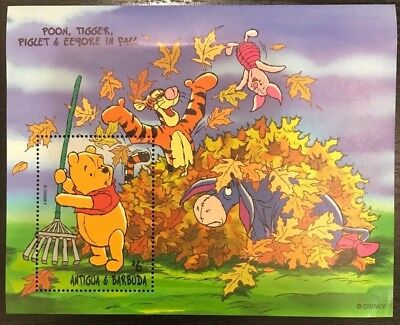 Antigua & Barbuda- Disney Pooh, Tiger, Piglet, Eeyore in Fall Souvenir Sheet