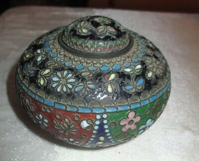 Vintage Cloisonne footed jar with lid blue red white floral - LUD