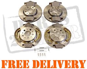 VOLVO V70 00-06 FRONT AND REAR BRAKE DISCS & PADS HAND BRAKE SHOES FITTING KIT
