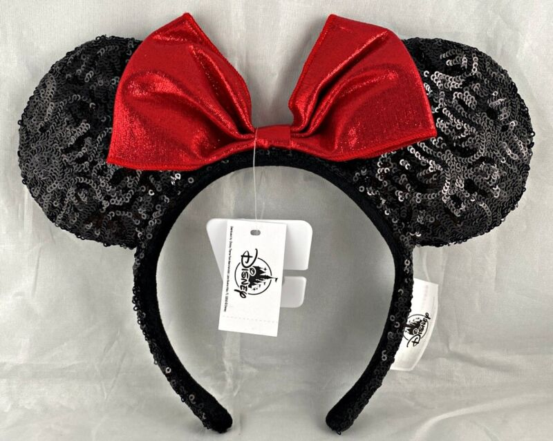Disney Parks Minnie Mouse Classic Red Bow Black Ears Sequin Headband - NEW