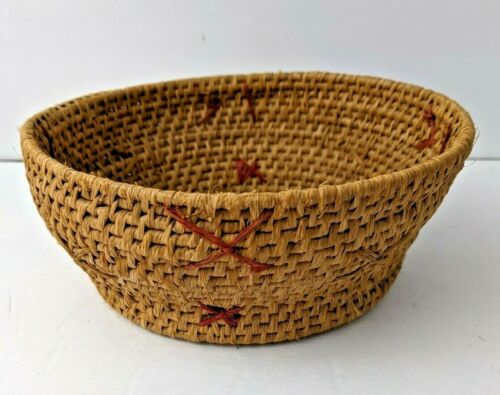"""VINTAGE 7"""" NATIVE PAPAGO PIMA INDIAN HAND WOVEN BASKET BOWL with X design"""
