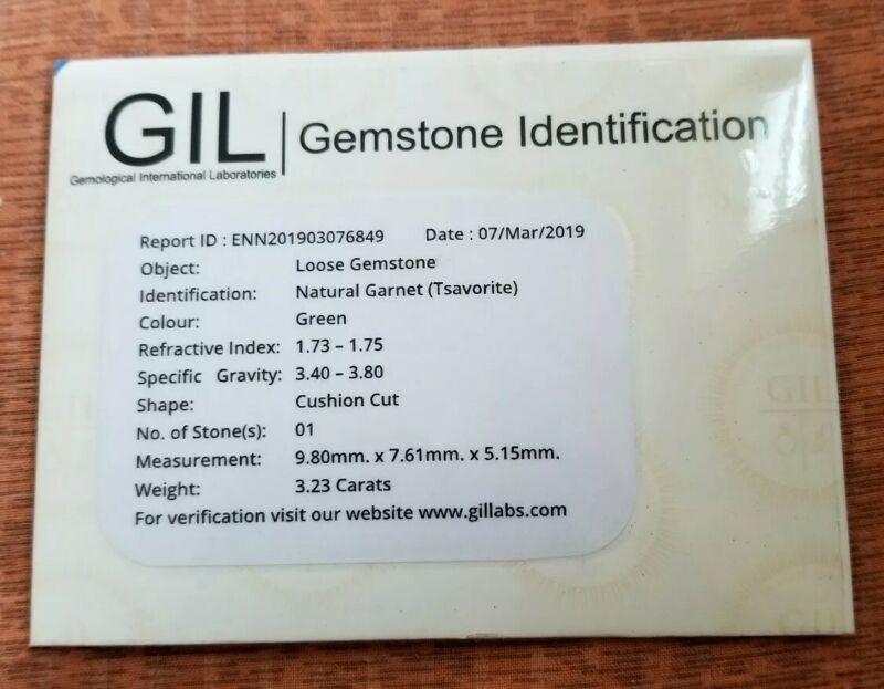 GIL CANADA Certified 3.23 Ct UNHEATED TSAVORITE GARNET GEMSTONE FROM MADAGASCAR