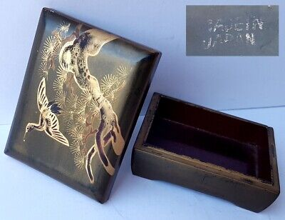 Tin/Jewellery Box Papiermâché Hand Painted Bird Crane Japan um 1930 Al1188