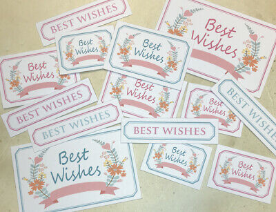 14 BEST WISHES Mixed Size Printed Sentiments 3-6cm Hand Made Card Toppers PRETTY