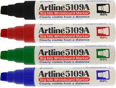 Artline 5109a Big Nib Whiteboard Markers - 4 Colors 10mm Line Width